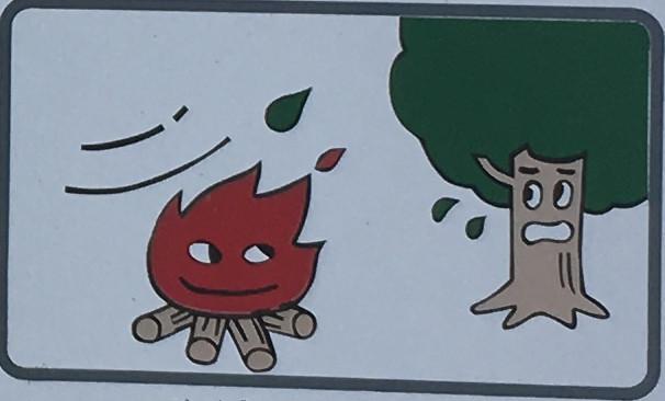 たき火、火の使用は禁止します。
