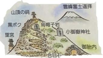田子山富士塚は実際の富士山に似せてつくられています。