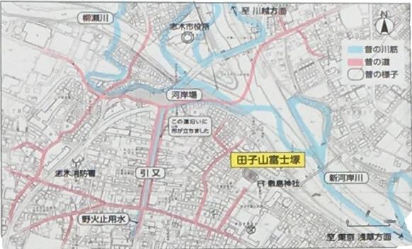 田子山富士塚築造当時の引又宿の様子 引又は、宿場や河岸場があり、毎月6回市が立つ、大いに栄えた商業地でした。