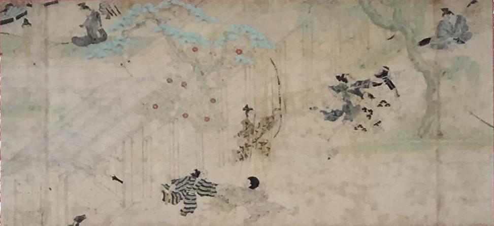 □『男(お)衾(ぶすま)三郎(さぶろう)絵詞(えことば)』武蔵(むさし)国(のくに)・男(お)衾(ぶすま)三郎(さぶろう)の館(東京国立博物館蔵)